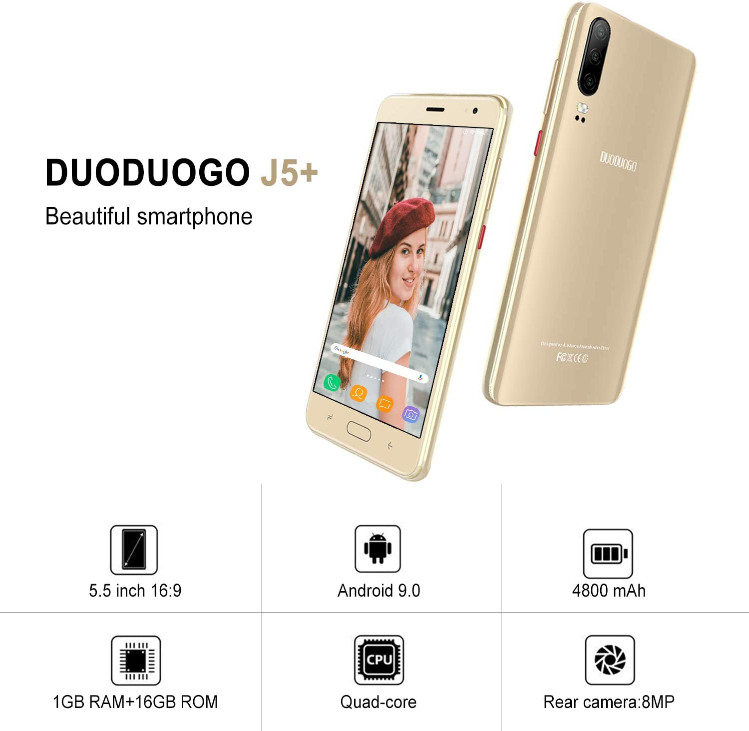 Moviles Libres 4G, Smartphone Libre Android 9,0 Quad Core 16GB ROM ...