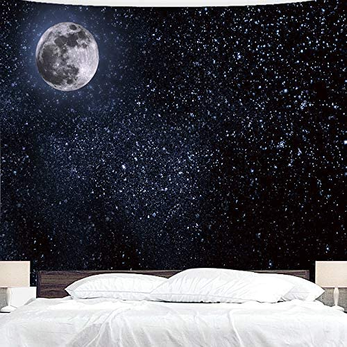 BJYHIYH Black Tapestry Wall Hanging Moon Stars Tapestry Starry Sky Tapestries for Bedroom Living Room Decoration 90 60