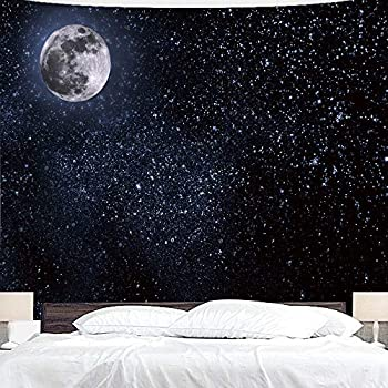 BJYHIYH Black and White Tapestry Moon Stars Tapestry Starry Sky Tapestries for Home Decoration(90