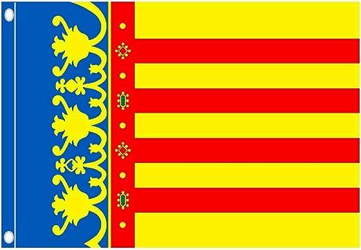 Durabol Bandera de Valencia Comunidades autónomas de España 60 * 90 cm Satin 2 Anillas metálicas fijadas en el Dobladillo: Amazon.es: Jardín