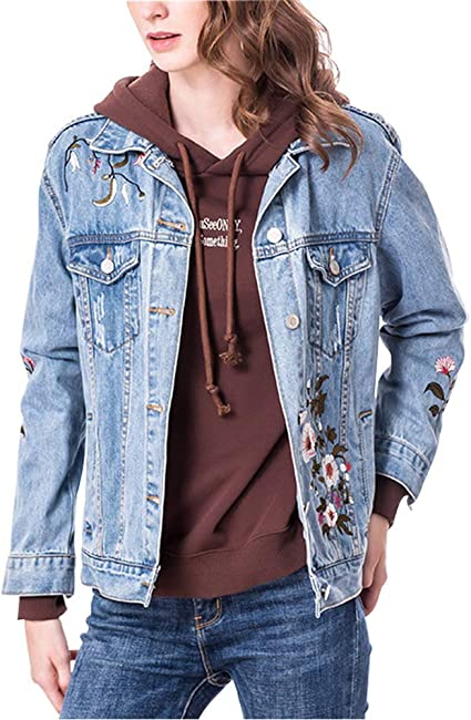 Adelina Chaqueta Vaquera para Mujer con Bordado Floral Loose Fray Jeans Abrigo Moda Completi Corto para Niñas Moda 2019 Ropa De Mujer: Amazon.es: Ropa y accesorios