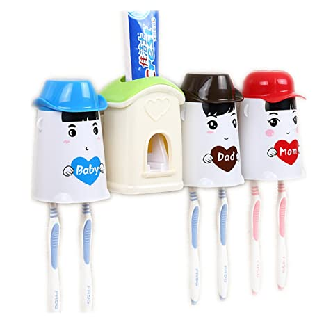 Unión Tesco – Dispensador de pasta de dientes automático con cepillo de dientes titular Set,