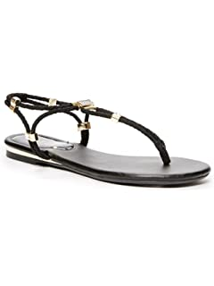 7def2bef136 GUESS Factory Women s Coine Rope Toe Thong Black Sandals