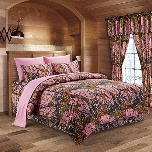 The Woods Pink Camouflage Queen 8pc Premium Luxury Comforter, Sheet, Pillowcases, and Bed Skirt Set by Regal Comfort Camo Bedding Set For Hunters Cabin or Rustic Lodge Teens Boys and Girls