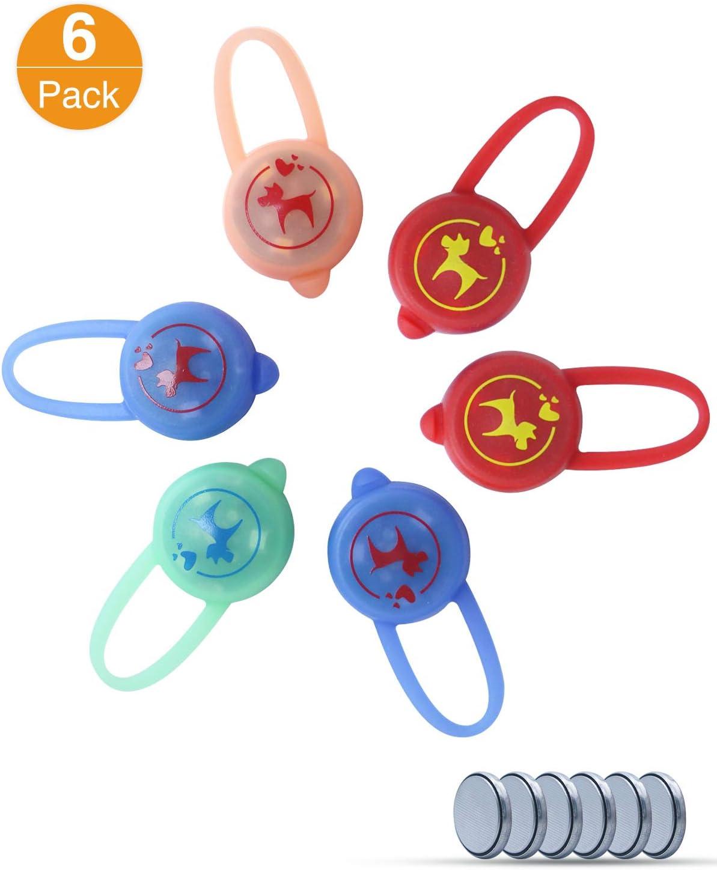litogo [6 Pack] Mascotas con Clip, Luz LED Collares para Perro Seguridad Luminoso Impermeable, 3 Modos Collar Luz Perro Recargable También para Niños, Corredores, Caminantes, Ciclistas, al Aire Libre