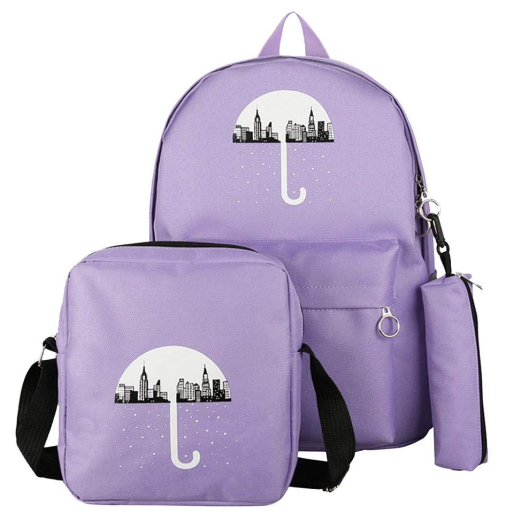ManxiVoo 3Pcs Student Canvas Backpack +Crossbody Bag+Pen Bag Travel Packsack Knapsack Bags for Women Girls (Purple)
