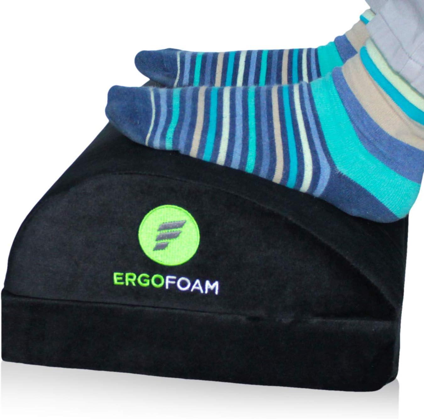 ErgoFoam Adjustable Desk Foot Rest for Added Height | Orthopedic Teardrop Design | Large Premium Under Desk Footrest | Most Comfortable Foot Rest Under Desk for Lumbar, Back, Knee Pain (Black)