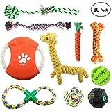 Onbet, strapazierfähiges Spielzeug-Set für Hunde aus schadstofffreiem Material, in lebendigen Farben, 10-teilig