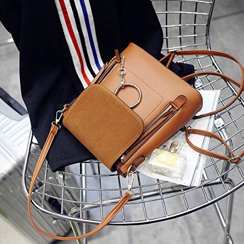 FZHLY Primavera E L'estate Nuove Signore Catena Multiuso Pacchetto Coreano Casual Travel Bag Scrub,Brown