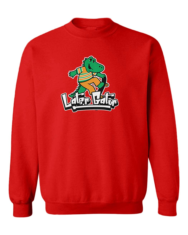 Later Gator Skater Alligator Youth Fleece Crewneck Sweater
