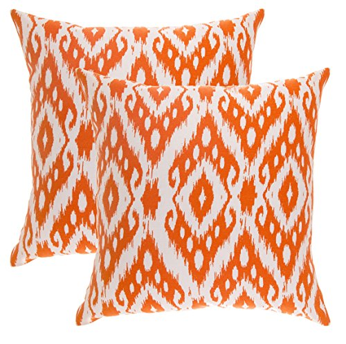 Diamond Accent Tree (TreeWool, (2 Pack) Throw Pillow Covers Ogee Ikat Diamond Accent in Cotton Canvas (16 x 16 Inches; Orange))