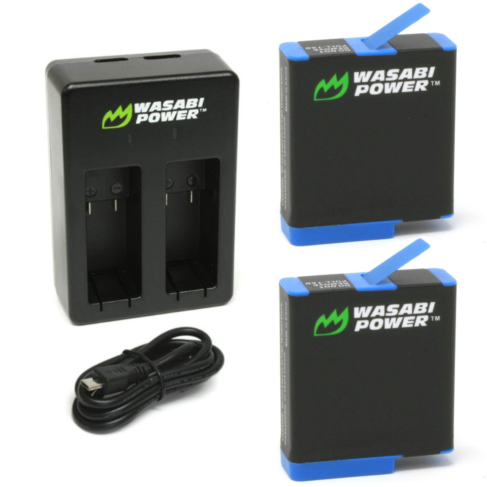 Wasabi Power HERO8 Battery (2-Pack) and Dual Charger for GoPro Hero 8 Black (All Features Available), Hero 7 Black, Hero 6 Black, Hero 5 Black, Hero 2018, Fully Compatible with Original