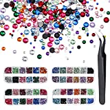 nails gems - Pangda 9000 Pieces 4 Size 12 Colors Nail Art Rhinestones Set with 4 Boxes Nail Gems and Pick up Tweezer