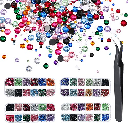 Piece Polish 4 Nail (Pangda 9000 Pieces 4 Size 12 Colors Nail Art Rhinestones Set with 4 Boxes Nail Gems and Pick up Tweezer)