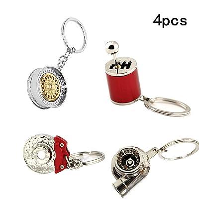 ISPEEDY 4PCS Mini Key Ring Turbo Keychain Auto Parts Model Keychain-Gold Wheel Rim Tyre Keyring,Spinning TurboKeychain,Six Speed Manual Transmission Shift Keyring,Brake disc Keychain: Automotive