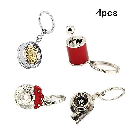 ISPEEDY 4pcs Turbo Keychain Auto Parts Model Keychain-Gold Wheel Rim Tyre Keyring,Spinning