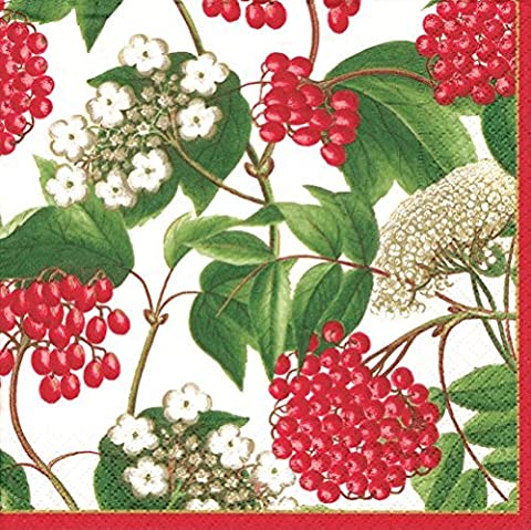 Christmas Napkins Christmas Party Christmas Dinner Party Paper Dinner Napkins White Berry Chintz Pk 40