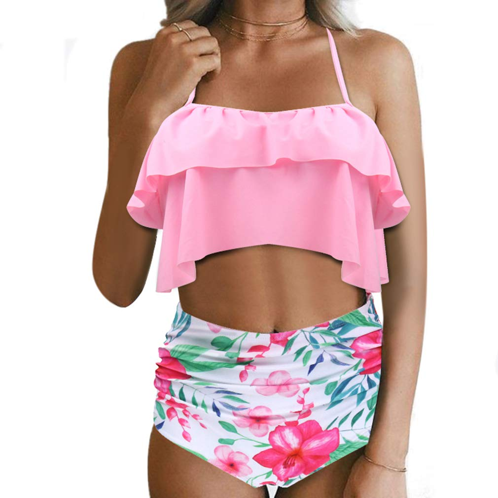 Pink RXRXCOCO Women High Waisted Bikini Set Falbala Flounce Halter Floral Bathing Suit