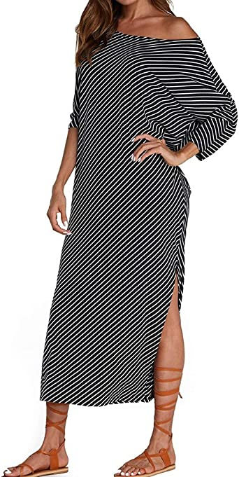 Likecrazy Mode Frauen Kleid Damska Fledermaus Ärmel Strandkleid Boho Tunika Maxikleid Sommerkleider Gestreiftes Unregelmäßiges Kleider: Odzież