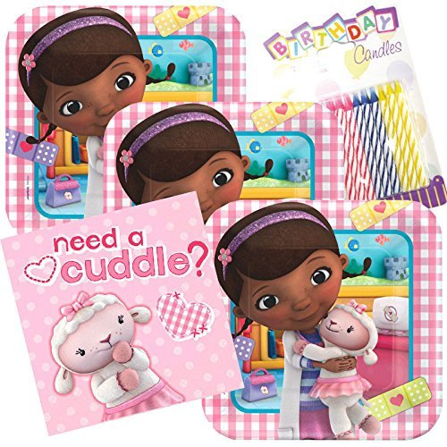 Lobyn Value Pack Disney Doc McStuffins Party Plates and Napkins Serves 16 With Birthday Candles ()