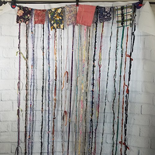 Hippie Gypsy Hanging Beaded Curtain, Room Divider, Door Curtain, Custom Made, Yarn and Recycled Materials