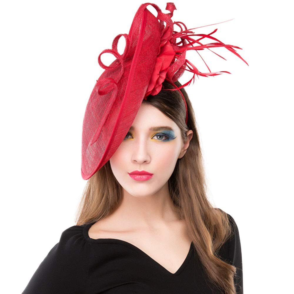 FADVES Feather Flower Sinamay Fascinator Tea Party Derby Races Wedding Hat Red