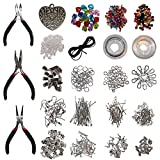 1000 Piece Jewelry Making Findings Supplies Kit with Pliers by Kurtzy - Silver Plated Starter Set - Craft Wire, Hoops for Pendants, Plier Set, Cutting Tool, Beads and More - Massive Accessories Kit