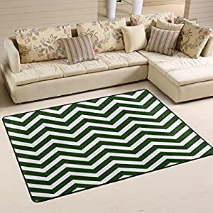 ALAZA Alfombra antideslizante para decoración del hogar, Hipster Hunter verde chevron resistente alfombra de suelo para salón dormitorio alfombras felpudos 91 x 61 cm