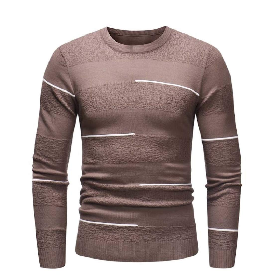YUNY Men Knit Pullover Long-Sleeve Outwear Crewneck Tops Sweaters Coffee 2XL