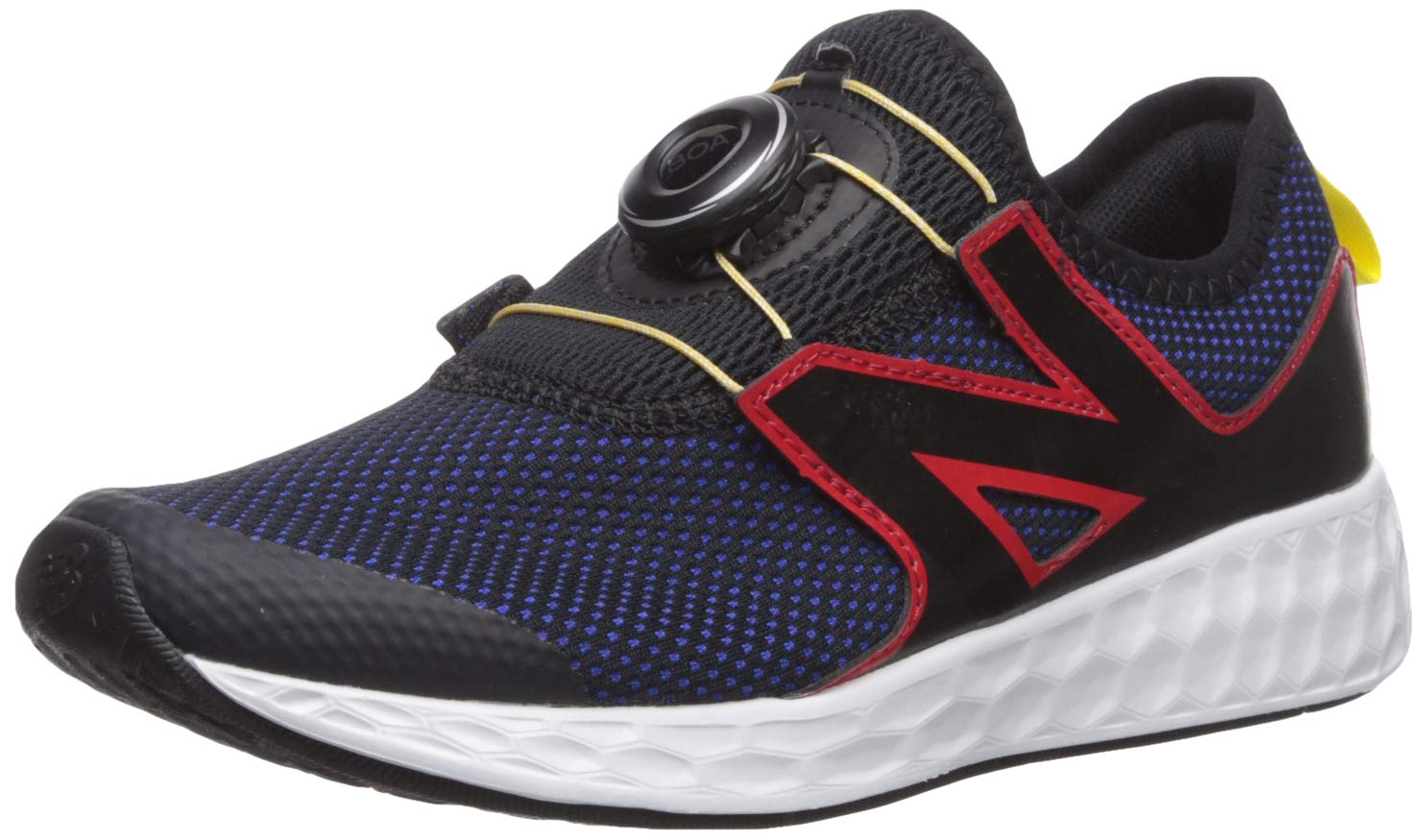 New Balance Boys' N Speed V1 Running Shoe, Black/UV Blue/Team RED, 6 M US Big Kid