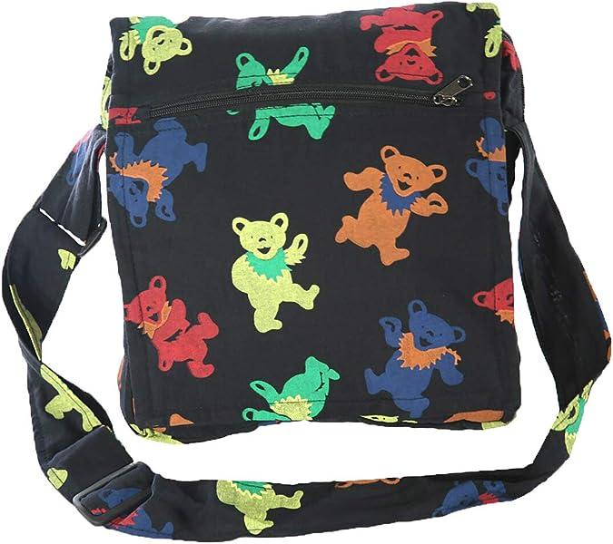 Rainbow Spiral Market Bag with Geateful Dead embellishment