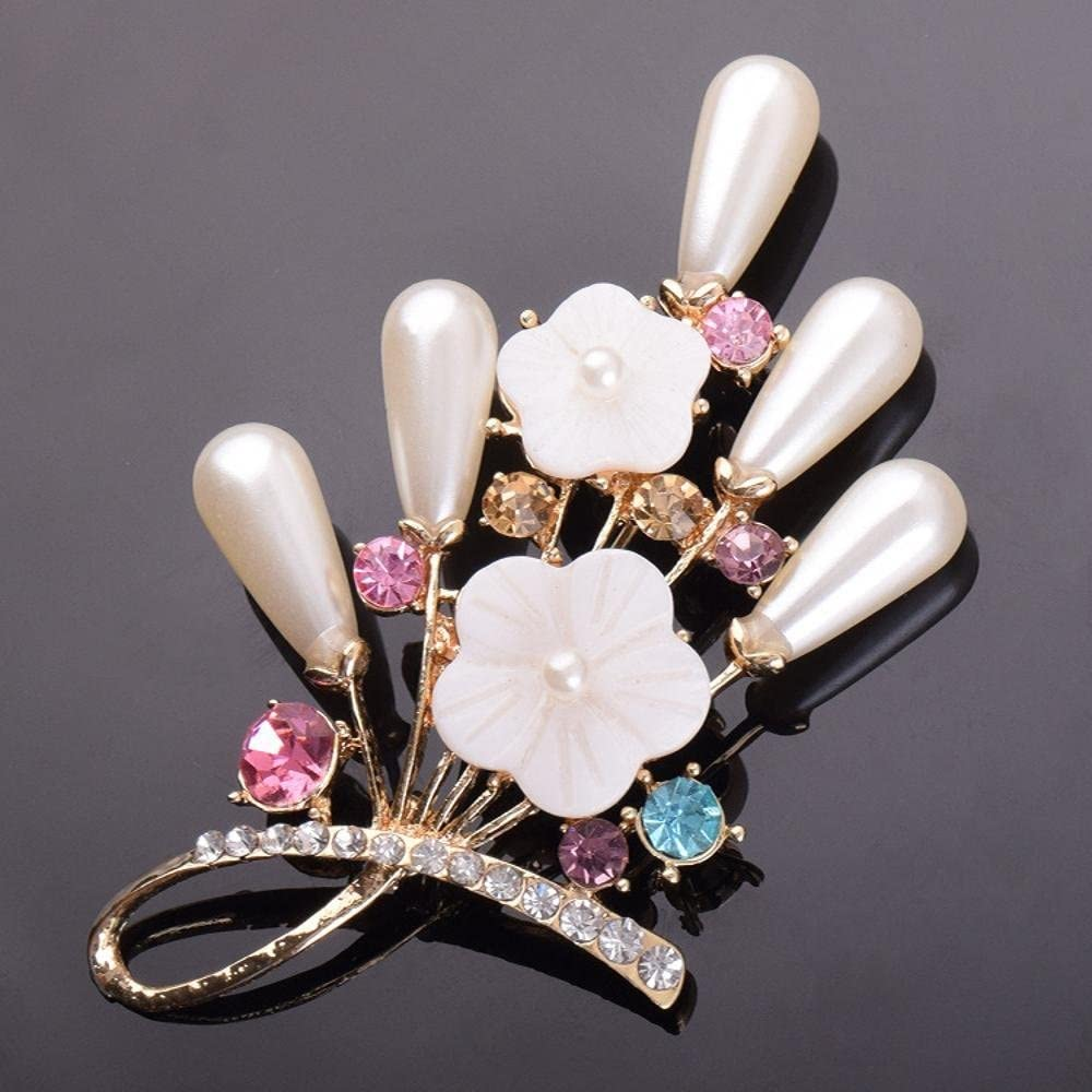 MAFYU Brooch Alloy Diamond Chest Needle Pearl Brooch Flower Shell Corsage Christmas Clothing Accessories