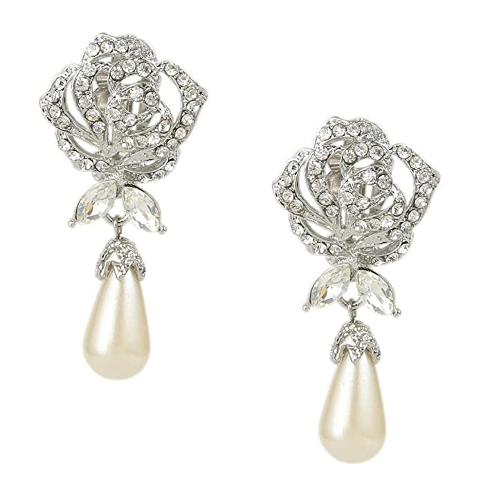 Vintage Style Jewelry, Retro Jewelry EVER FAITH Austrian Crystal Simulated Pearl Rose Flower Teardrop Clip-on Earrings Clear $15.99 AT vintagedancer.com