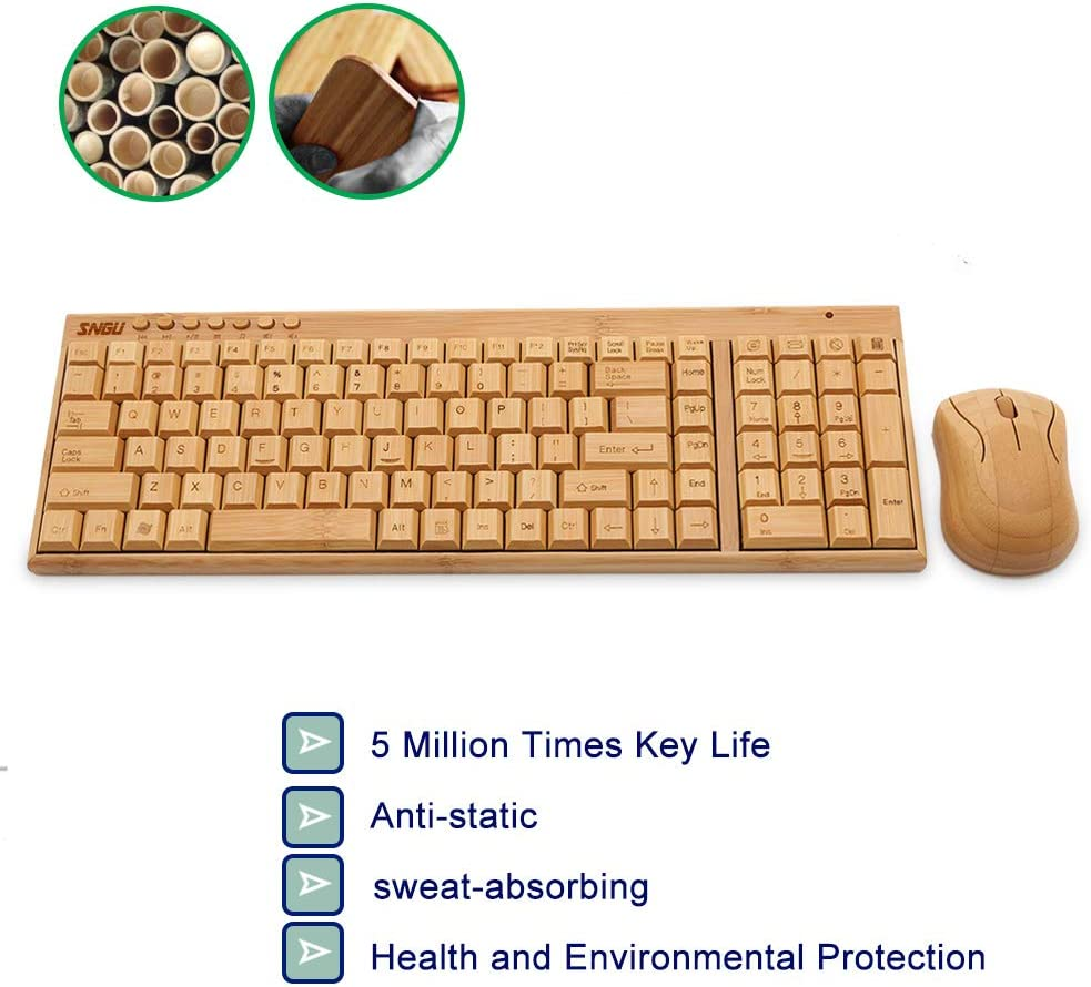 Hakeeta Keyboard+Mouse of Bamboo Wooden Ultra-Thin Waterproof Ecological Bamboo Sweat Compatible with Most of Systems Long Service Life Comfortable Wireless kit Universal Smooth Surface