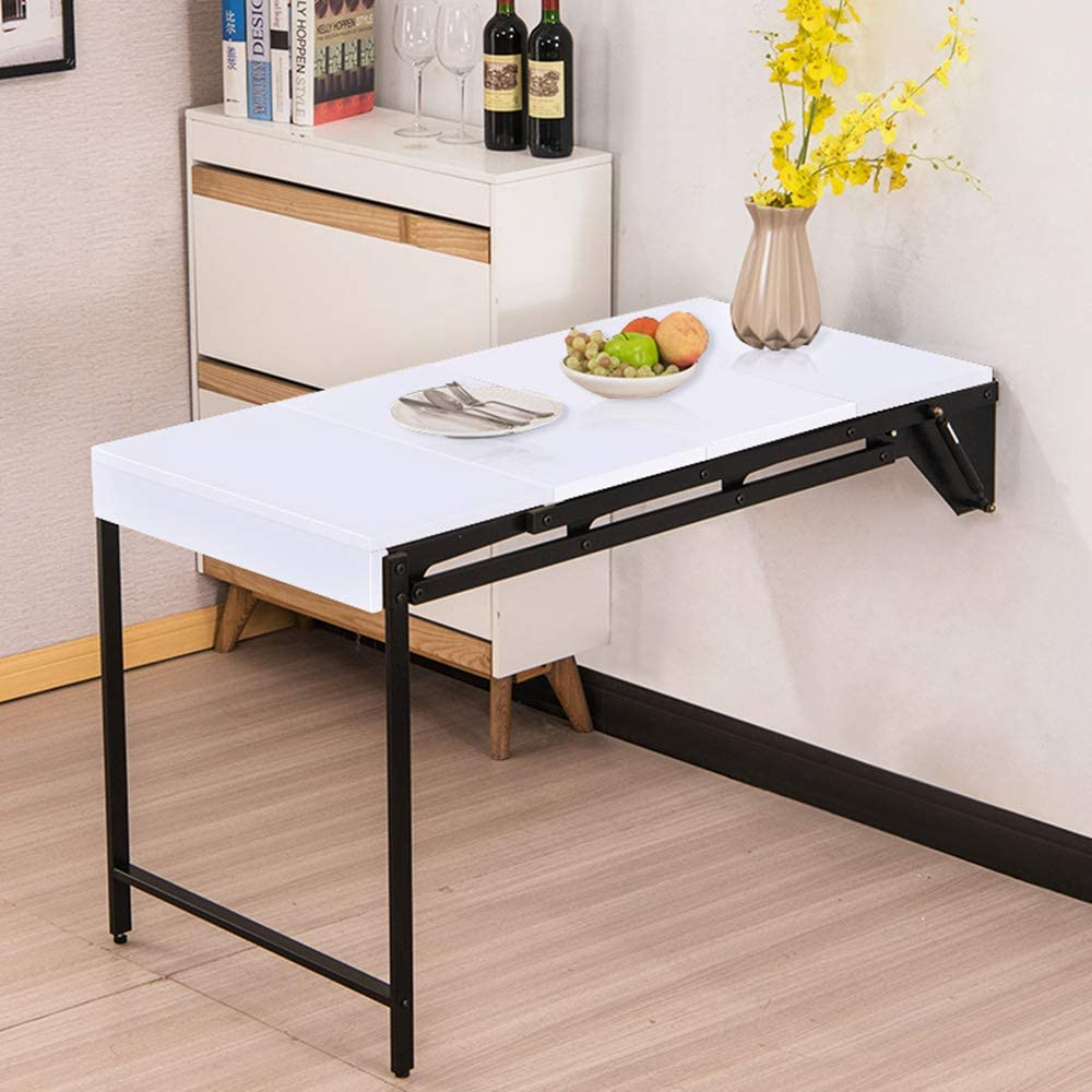 Desk Wall Mounted Table Fold Out Convertible Storage Rack Shelf, Home Office Wall Mounted Dining Table Study Computer for Small Space