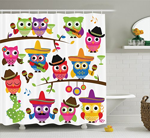 Ambesonne Owls Home Decor Collection, Collection of Cowboy Owls with Hats Guitars Cactus Cinco de Mayo Design, Polyester Fabric Bathroom Shower Curtain Set with Hooks, Blue Green Orange - Party Cinco Music Mayo De For