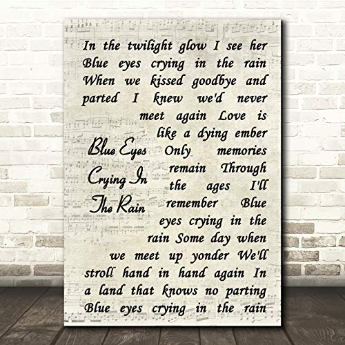 Blue Eyes Crying in The Rain Vintage Script Song Lyric Gift Present Poster Print