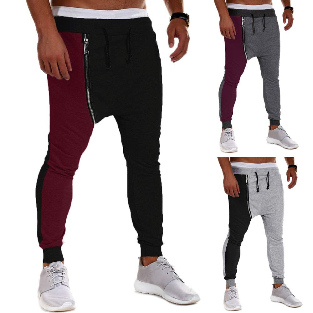 PASATO Clearace Sale! Men's Casual Autumn Winter Cotton Zipper Hip Hop Trousers Joggers Harem Pants(Black, M) by PASATO (Image #4)