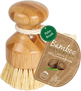 Bamboo Naturals Kitchen Tool Made of Fully Sustainable Materials, Plastic-Free Home Cleaning Coconut Fiber Palm Brush
