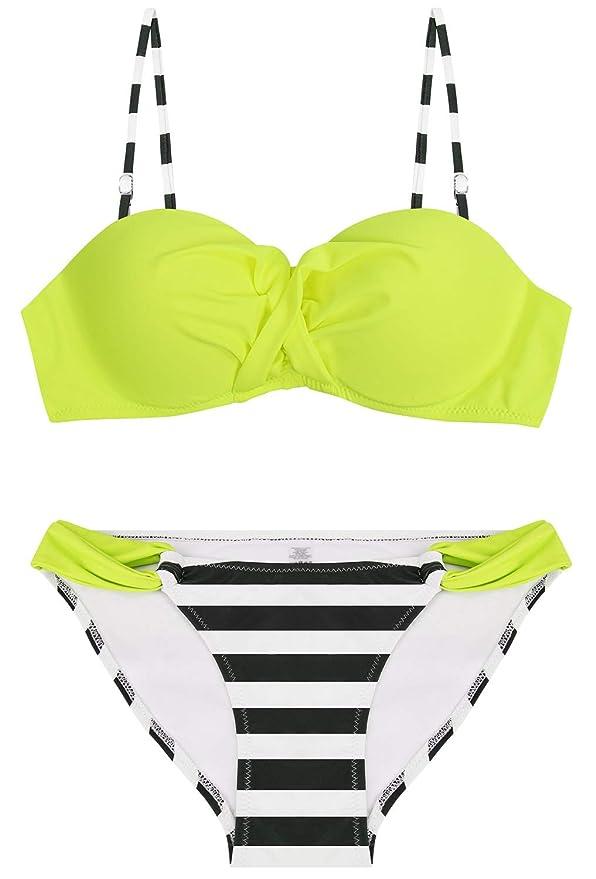 Bikini bandeau amarillo neón para mujer