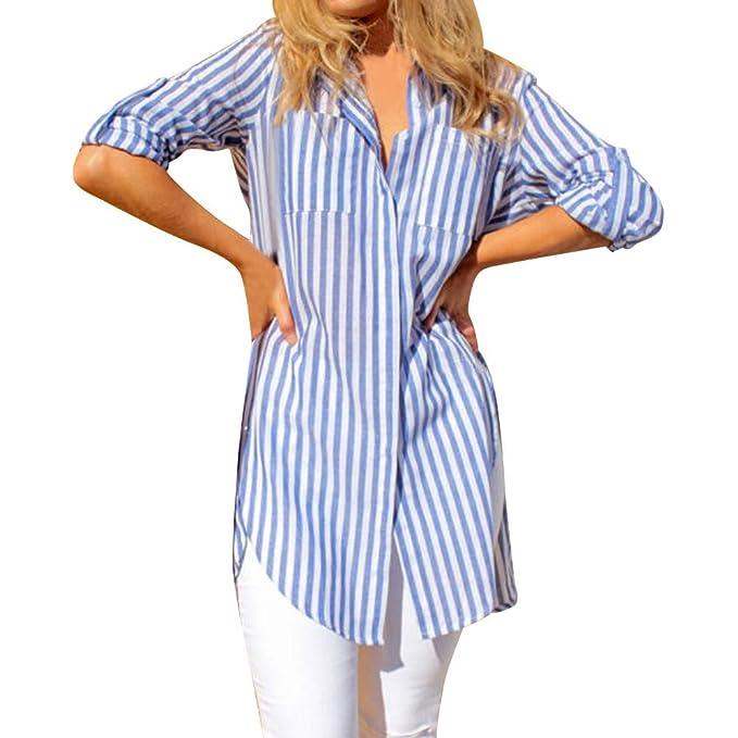 Camisetas para Mujer Blusa,BBestseller Pullover Camiseta Otoño Las Mujeres Forman a Rayas el botón de la Manga Larga del Bolsillo Suelto Ocasional Tops ...