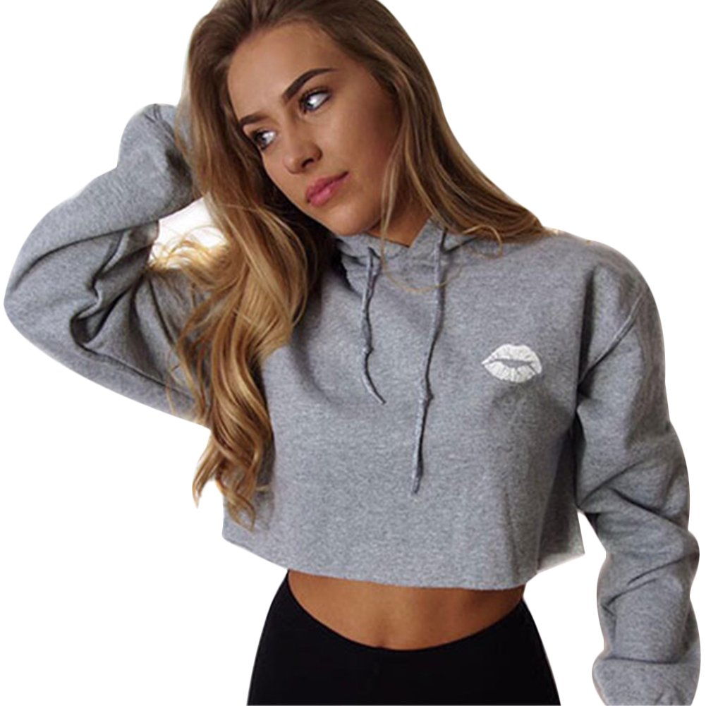 Tidecc Women Hoodies Sweatshirt Long Sleeve Plain Hooded Crop Tops Cropped Jumper Pullovers UK 6-20