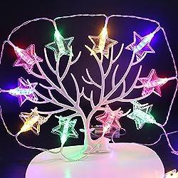 Zehui Christmas Tree Hanging Pendant LED Star Shape Photo Clip Lights with Battery Box Christmas Tree Hanging Pendant Festivals Garden Party Yard Decoration 1.5 m 10 lights Four Colors