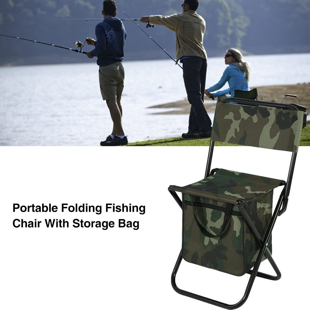 Folding Backpack Stool Portable Camping Fishing Chair Convenient Carry Seat with Storage Bag for Outdoor Events Travel Backpacking
