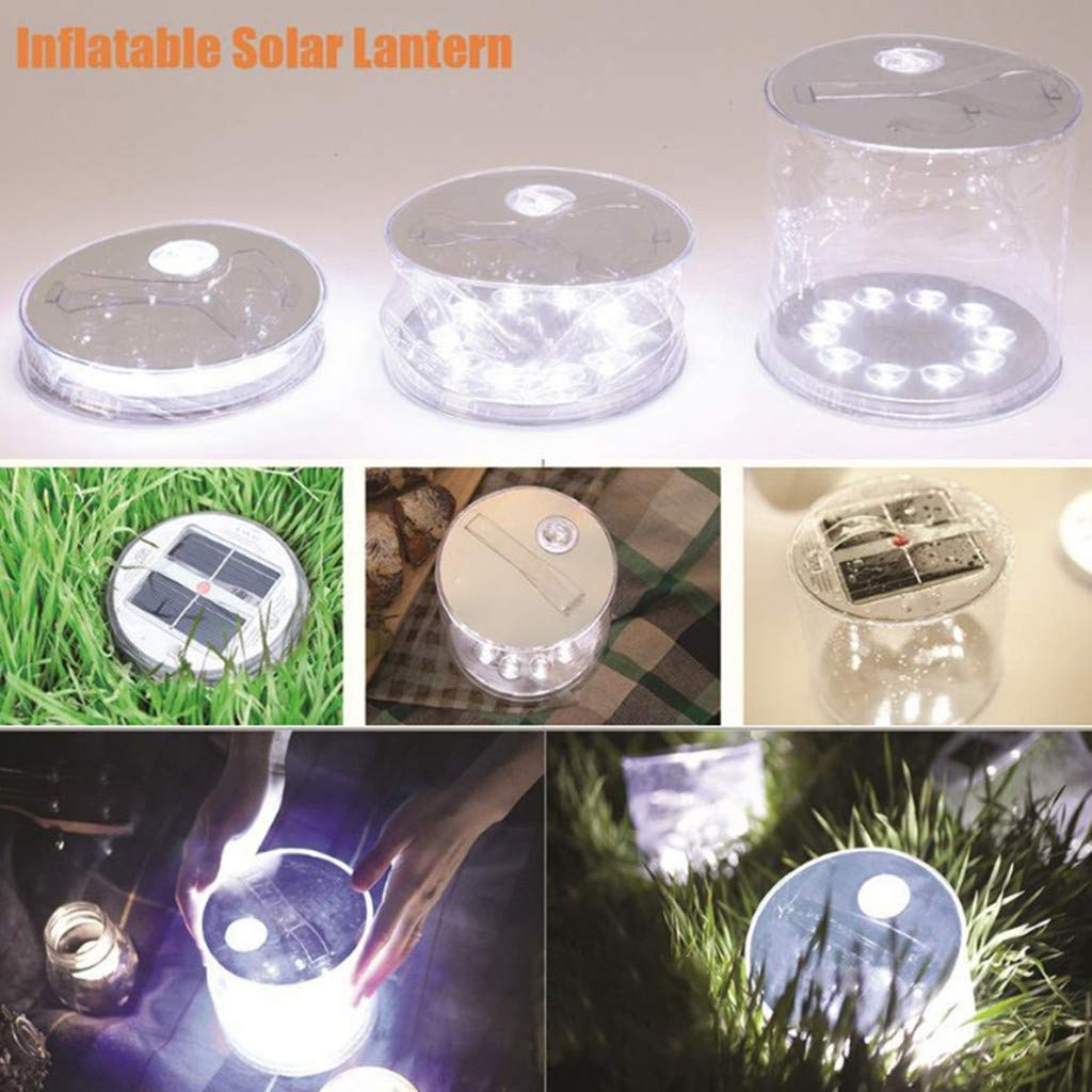 Adjustable Strap,Solar Power Inflatable Lantern Lamp LED Camping Hiking Outdoor Tent Light Uplord Inflatable Solar Light,Waterproof Design,Clear Finish