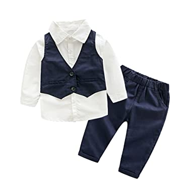 efe6c650e5dc Amazon.com: Tem Doger 3pcs Baby Boy Gentleman Set Vest Shirt and Pant  Formal Suit for 2 to 7 Age Little Boy: Clothing