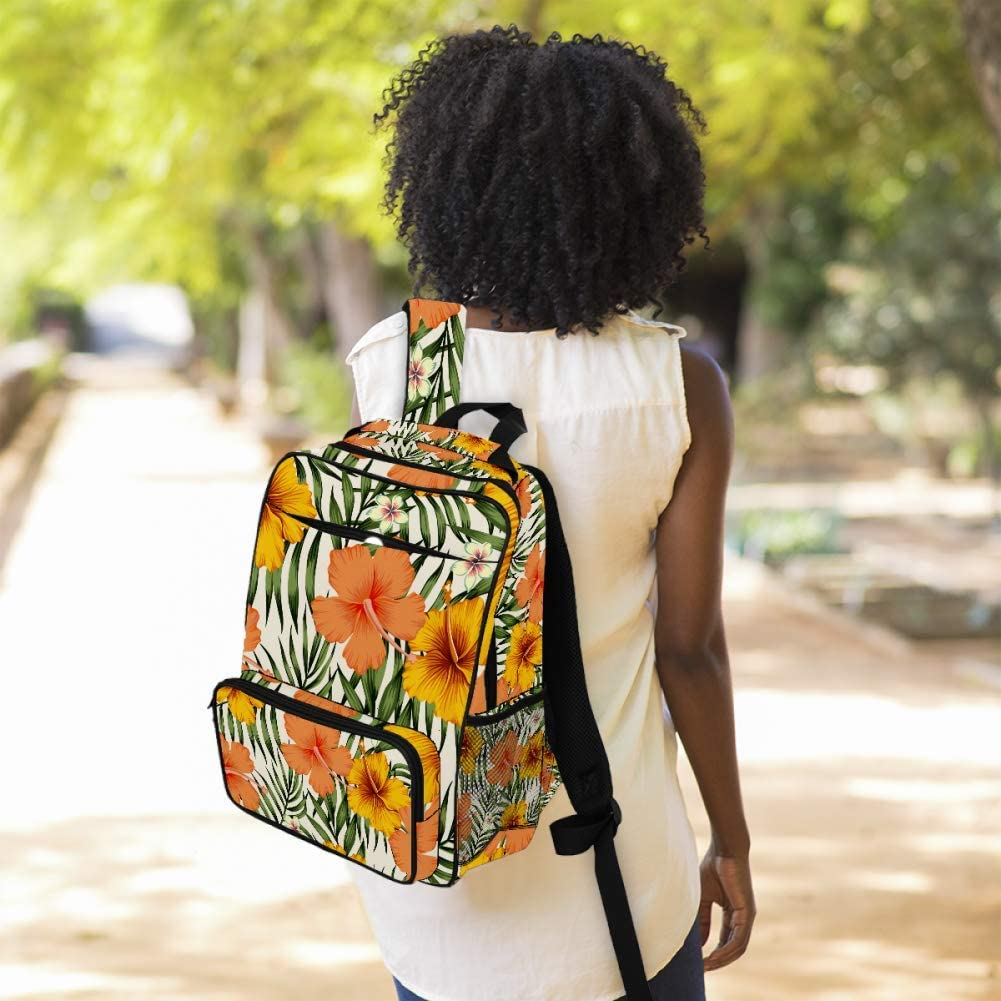 Tropical Exotic Lovely Flowers Vintage Hibiscus Plumeria Palm Leaves Summer Illustration School Backpack Laptop Backpacks Casual Bookbags Daypack for Kids Girls Boys and Women