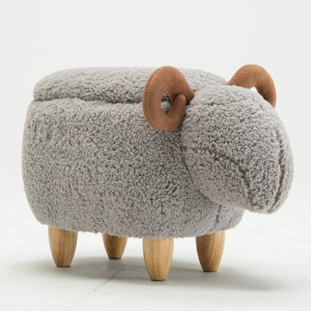 MJY Cute Cute Little Cotton Sheepskin Schuhe Change Schuhe Bench Change Schuhe Hocker Animal Hocker Massivholz Aufbewahrungshocker, Weiß, Grau 33 x 63 cm x Bankbeine 10 cm lang. Werkzeug Kreativhaus,