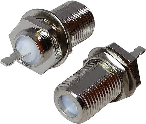 AERZETIX: 2 x Conectores Enchufe F Hembra para soldar de Panel Antena TV satelite coaxial