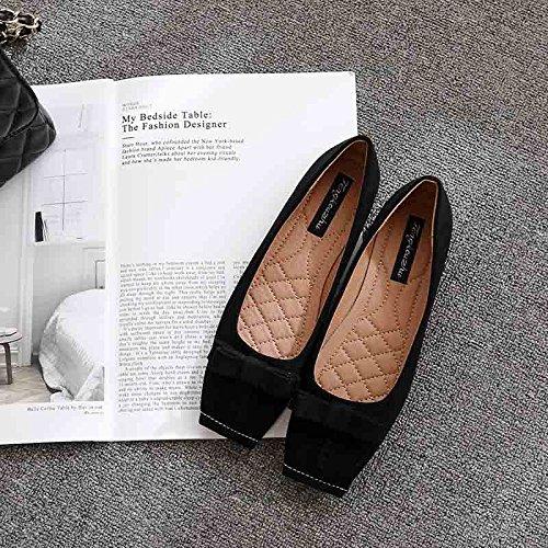 Xue Qiqi Court Schuhe Quadratische Flache Flache Pumpen Flache Pumpen Frauen niedrige Ferse-Schmetterlingsschuhe 37 schwarz